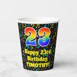 [ Thumbnail: 23rd Birthday: Fun Music Notes Pattern, Rainbow 23 ]