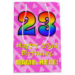 [ Thumbnail: 23rd Birthday: Fun Pink Hearts Stripes; Rainbow 23 Gift Bag ]