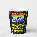 [ Thumbnail: 23rd Birthday: Fun Stars Pattern and Rainbow 23 ]