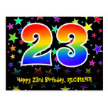 [ Thumbnail: 23rd Birthday: Fun Stars Pattern, Rainbow 23, Name Postcard ]
