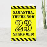 [ Thumbnail: 23rd Birthday: Fun Stencil Style Text, Custom Name Card ]
