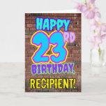 [ Thumbnail: 23rd Birthday - Fun, Urban Graffiti Inspired Look Card ]