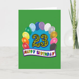 23rd Birthday Gifts With Assorted Balloons Design Card