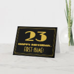 "[ Thumbnail: 23rd Birthday: Name + Art Deco Inspired Look ""23"" Card ]"