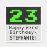 """[ Thumbnail: 23rd Birthday - Nerdy / Geeky Style """"23"""" & Name Napkins ]"""