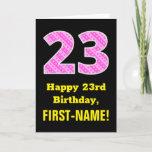 "[ Thumbnail: 23rd Birthday: Pink Stripes and Hearts ""23"" + Name Card ]"