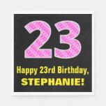 "[ Thumbnail: 23rd Birthday: Pink Stripes and Hearts ""23"" + Name Napkins ]"