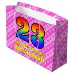 [ Thumbnail: 23rd Birthday: Pink Stripes & Hearts, Rainbow # 23 Gift Bag ]