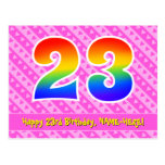 [ Thumbnail: 23rd Birthday: Pink Stripes & Hearts, Rainbow 23 Postcard ]