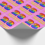 [ Thumbnail: 23rd Birthday: Pink Stripes & Hearts, Rainbow # 23 Wrapping Paper ]