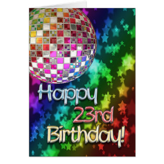 23rd birthday with disco ball and rainbow of stars card
