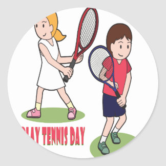 23rd February - Play Tennis Day - Appreciation Day Classic Round Sticker