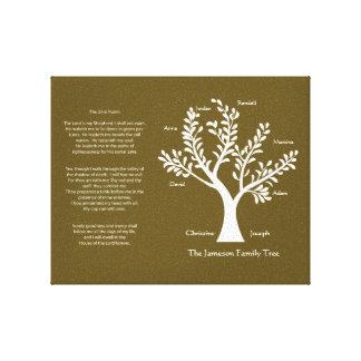 23rd Psalm Family Tree Canvas, Dark Khaki Canvas Prints