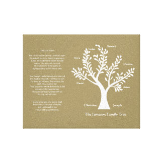 23rd Psalm Family Tree Canvas, Khaki Stretched Canvas Print