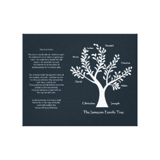 23rd Psalm Family Tree Canvas, Med Black Stretched Canvas Prints