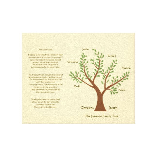 23rd Psalm Family Tree  Canvas Print