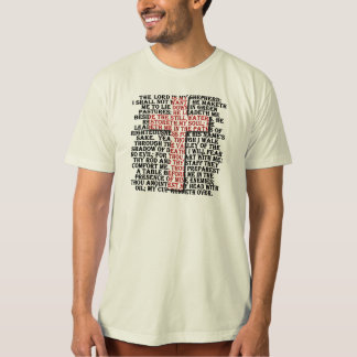 23rd Psalm w/ red letter, drop shadow raised cross T-Shirt