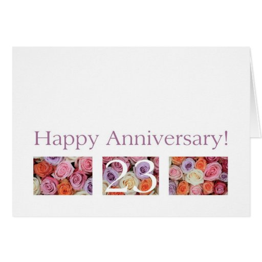 Wedding Anniversary Gifts 23rd Year : 23rd Wedding Anniversary Card pastel roses Zazzle