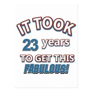 23rd year birthday designs postcard