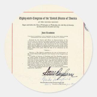 23ro constitución de los E.E.U.U. de la enmienda Pegatina Redonda