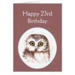 23ro Cumpleaños que le ama, humor lindo del búho Felicitaciones