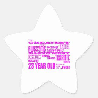 23ro cumpleaños veintitrés más grande rosado de colcomanias forma de estrellaes