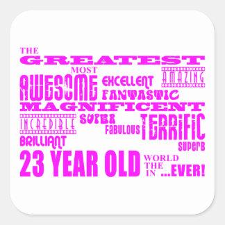 23ro cumpleaños veintitrés más grande rosado de calcomania cuadradas
