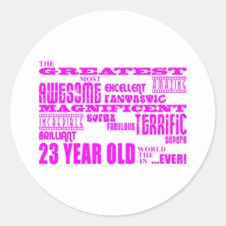 23ro cumpleaños veintitrés más grande rosado de pegatinas redondas