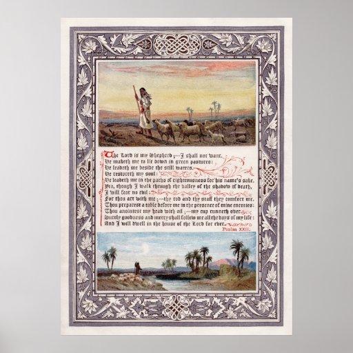 23ro El salmo el señor es mi impresión de la lona  Posters