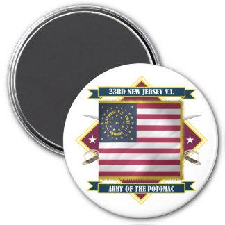 23ro Infantería voluntaria de New Jersey Imán Redondo 7 Cm