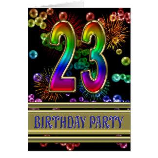 23ro Invitación de la fiesta de cumpleaños Felicitación