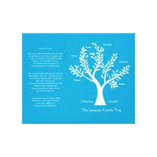 23ro Lona del árbol de familia del salmo, azul del Impresion En Lona