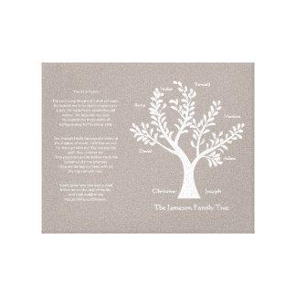 23ro Lona del árbol de familia del salmo, gris cal Impresión En Tela