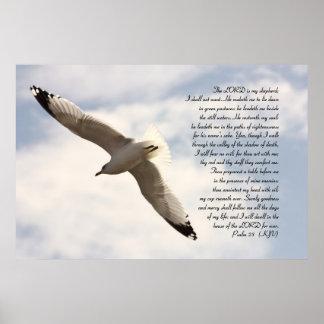 23ro Verso bíblico del salmo con la gaviota altísi Póster