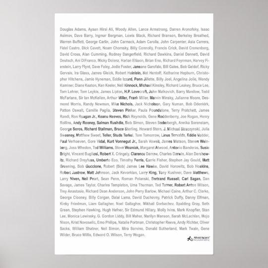 23x35 Print - Atheist Apparel Roll Call - White