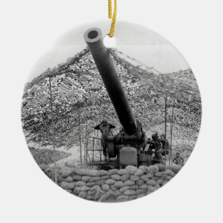 240mm howitzer of Battery B 697th Field Artillery Double-Sided Ceramic Round Christmas Ornament