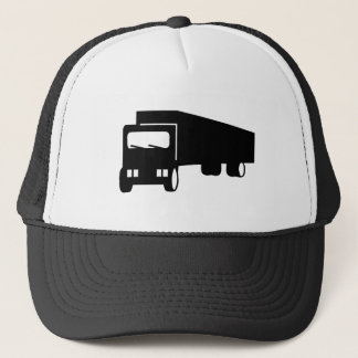 2475 Silhouettes  BLACK BIG RIG TRUCK GROUND TRANS Trucker Hat