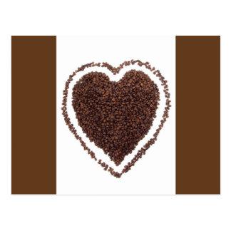 2484 Coffee beans heart shape foods drinks gods mo Postcard