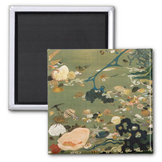 24. 貝甲図, 若冲 Shells, Jakuchū, Japan Art 2 Inch Square Magnet