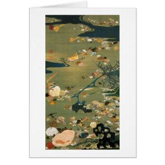 24. 貝甲図, 若冲 Shells, Jakuchū, Japan Art Card