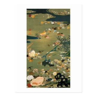 24. 貝甲図, 若冲 Shells, Jakuchū, Japan Art Postcard