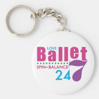 24/7 Ballet Basic Round Button Keychain