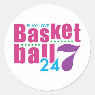 24/7 Basketball Classic Round Sticker