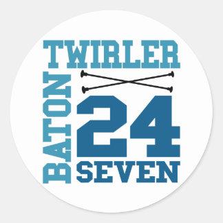 24:7 del Twirler de bastón Pegatina Redonda
