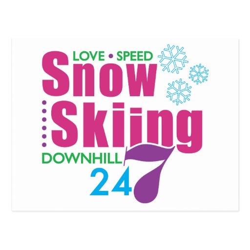 24/7 esquí de la nieve postal