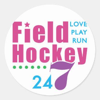 24/7 Field Hockey Classic Round Sticker