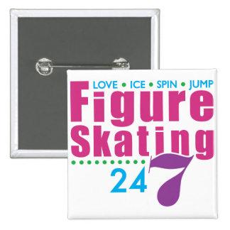 24/7 Figure Skating 2 Inch Square Button