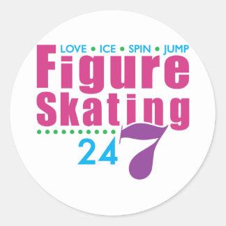 24/7 Figure Skating Round Sticker