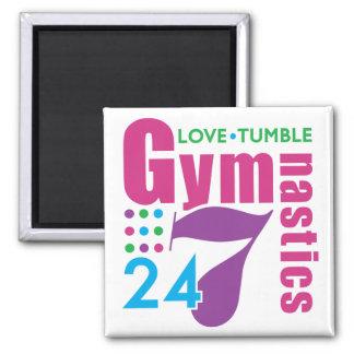 24/7 Gymnastics 2 Inch Square Magnet