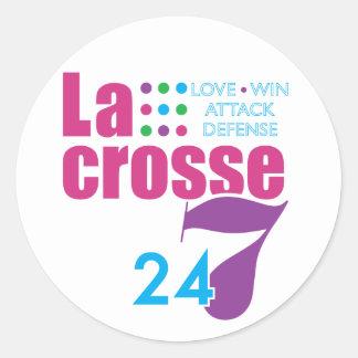 24/7 Lacrosse Classic Round Sticker
